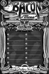 Vintage Bacon Menu on Blackboard for Restaurant