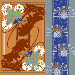 Thistle vector seamless decorative strip, pattern. Art Nouveau.