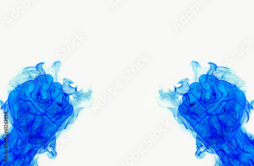 two blue fire flames fist on white background