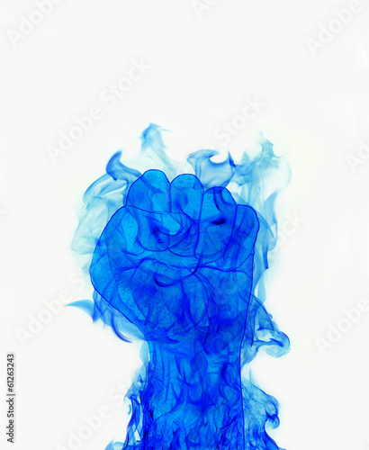 blue fire flames fist on white background