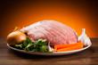 Fresh raw pork ham