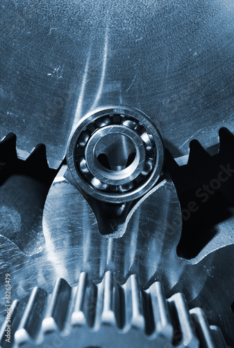 titanium gears and ball-bearing in close-ups