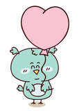 Baby boy friendly owl with heart balloon and place for text