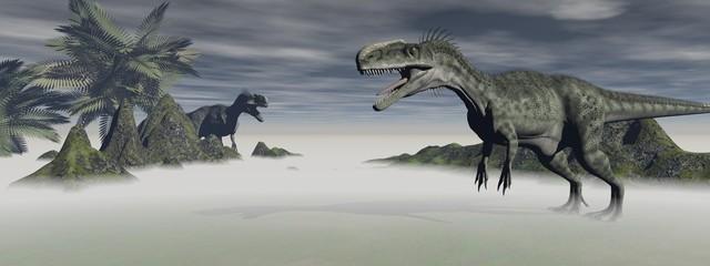two monolophosaurus dinosaur