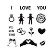 Set of  Valentine day love icon