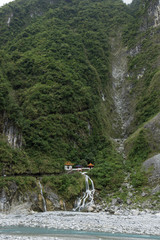 Waterfall and steep mountain at Taroko, Taiwan
