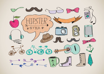 Hipster style infographics elements and icons set