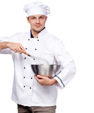 chef with whisk, mixing bowl