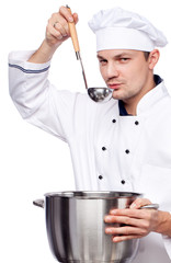 man cook holding saucepan and ladle