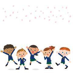 新入学の子供達と桜