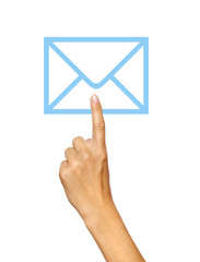 Hand pressing mail icon
