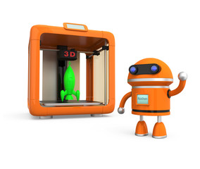 Personal 3D printer with rocket, robot model