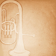 Retro trumpet. Vector illustration