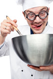 chef with whisk and mixing