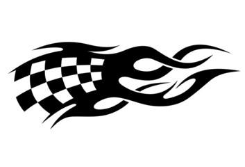 Black and white checkered flag in motion