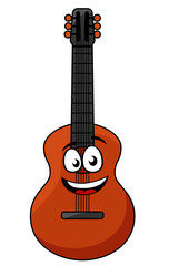 Happy wooden acoustic guitar