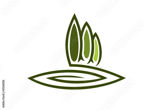 Green eco symbol with tall cypresses