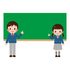 学生男女 黒板