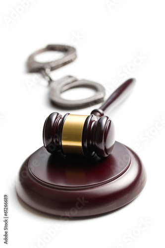judge gavel with handcuffs
