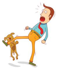 naughty dog biting foot