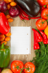 empty paper note   with vegetables