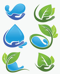 vector collection of leaf and water frames, labels and stickers