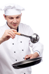 chef with pan and ladle
