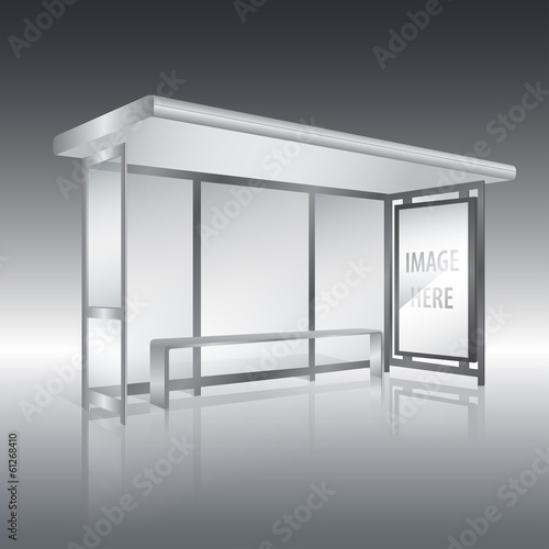 Bus stop with blank panel vector
