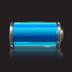 Vector glossy full battery, realistic illustration
