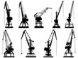 Vector silhouettes of cargo crane tower. - 61269490