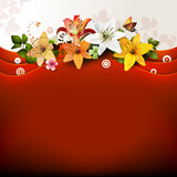 Red background with flowers