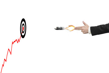Hand gun gesture with bullet, target, trend and money symbol