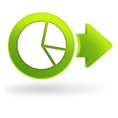 statistique sur symbole web vert