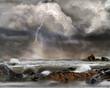 canvas print picture - Gewitter, Unwetter auf See