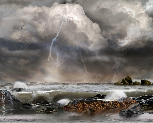 canvas print picture Gewitter, Unwetter auf See
