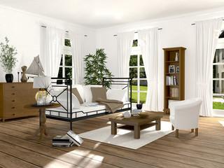 Wohnzimmer im renovierten Altbau mit Eisensofa