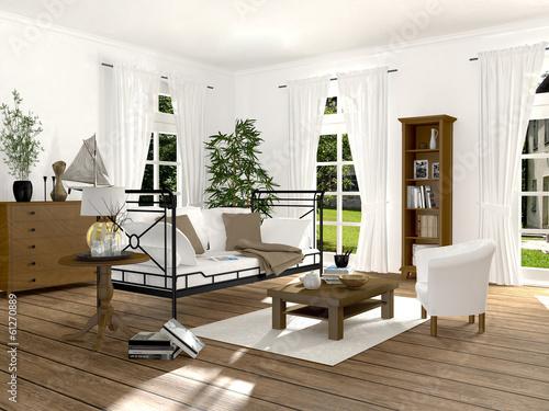 Wohnzimmer im renovierten altbau mit eisensofa von deepvalley lizenzfreies foto 61270889 auf - Altbau wohnzimmer ...