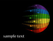 black background with multicolored round equalizer