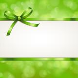 Bokeh Karte mit Schleife - Frühlingsgrün