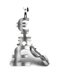 businessman cheering on top of stack money symbols