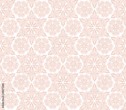 Fotobehang Kunstmatig dense pink ornament with swirls and leaves