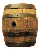 old oak barrel isolated