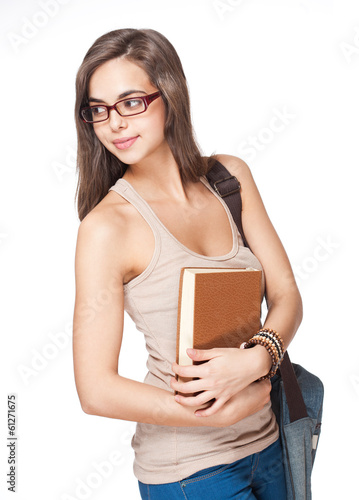 Cute brunette student girl.