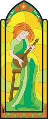 girl art musician domra mosaic