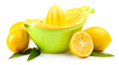 Citrus press and lemons isolated on white