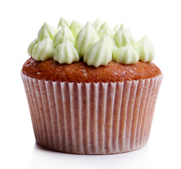 Tasty cupcake with butter cream, isolated on white