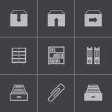 Vector black archive icons set