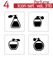 Vector black perfume icons set