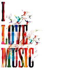 "Colorful vector ""I LOVE MUSIC"" background with hummingbirds"