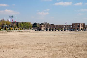 View of dry river bed and Khajoo bridge in Esfahan, Iran